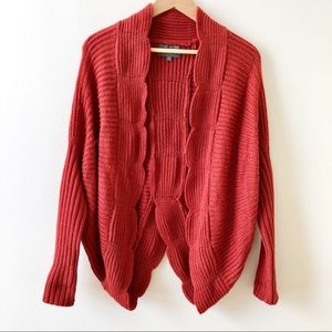 Anthropologie Scalloped Open Front Cocoon Cardigan